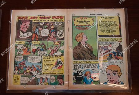 """A May/June 1947 Wonder Woman comic book issue featuring Amelia Earhart is displayed at the Library of Congress' """"Library of Awesome"""" exhibit in Washington. """"Wonder Women of History"""" also featured other notable women such as Susan B. Anthony, Marie Curie, Harriet Beecher Stowe, and Sojourner Truth"""