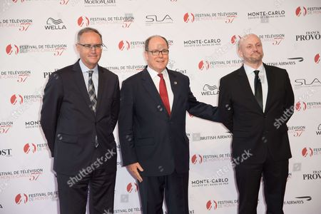 Stock Photo of Etienne Leenhardt, Prince Albert II, Prince Rainier and Juan Jose Campanella