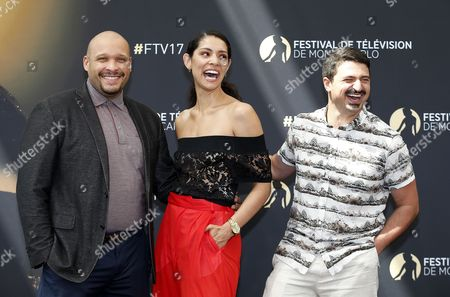 US actors Joe Minoso (L), Miranda Rae Mayo (C) and Yuri Sardarov (R) pose for the TV series 'Chicago Fire' at the 57th Monte Carlo Television Festival in Monaco, 17 June 2017. The event will take place from 16 to 20 June.