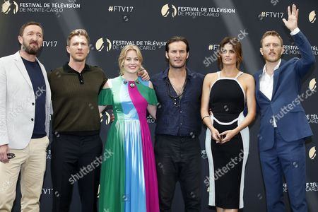 (L-R) US actors Ralph Ineson, Patrick Heusinger, Cara Theobold, Angel Bonanni, Serbian actress Stana Katic and US actor Neil Jackson pose for the TV series 'Absentia' at the 57th Monte Carlo Television Festival in Monaco, 17 June 2017. The event will take place from 16 to 20 June.