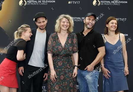 French actors (L-R) Yeelem Jappain, Ali Marhyar, Cecile Bois, Raphael Lenglet and Nathalie Boutefeu pose for the TV series 'Candice Renoir' at the 57th Monte Carlo Television Festival in Monaco, 17 June 2017. The event will take place from 16 to 20 June.