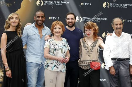 (L-R) French actors Amelie Etasse, Loup Denis Elion, Marion Game, David Mora, Anne Elisabeth Blateau and Gerard Hernadez pose during the photocall for the TV series 'Scenes de menages' at the 57th Monte Carlo Television Festival in Monaco, 17 June 2017. The event will take place from 16 to 20 June.