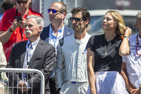 Chase CAREY, Mark WEBBER and Maria SHARAPOVA watch on during the 24 Hours of Le Mans 2017 race at Le Mans, Le Mans