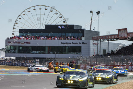 Stock Picture of 97 ASTON MARTIN RACING, ASTON MARTIN VANTAGE Darren TURNER GBR, Jonathan ADAM GBR, Daniel SERRA BRA, 95 ASTON MARTIN RACING, ASTON MARTIN VANTAGE Nicki THIIM DNK, Marco SØRENSEN DNK, Richie STANAWAY NZL during the 24 Hours of Le Mans 2017 race at Le Mans, Le Mans