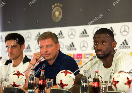 German national soccer team players Antonio Ruediger (R) and Lars Stindl (L) attend a press conference held at the Radisson Blu Paradise Resort and Spa conference centre, Sochi, Russia, 17 June 2017.  FIFA Confederations Cup will run in St. Petersburg, Moscow, Kazan and Sochi from 17 June till 02 July.