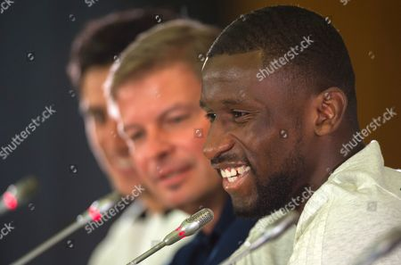 German national soccer team player Antonio Ruediger (R) attends a press conference held at the Radisson Blu Paradise Resort and Spa conference centre, Sochi, Russia, 17 June 2017.  FIFA Confederations Cup will run in St. Petersburg, Moscow, Kazan and Sochi from 17 June till 02 July.