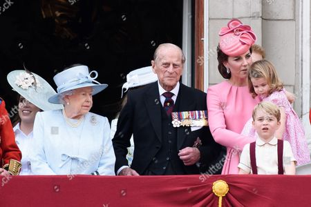 Queen Elizabeth II, Prince Philip, Catherine Duchess of Cambridge, Prince George and Princess Charlotte