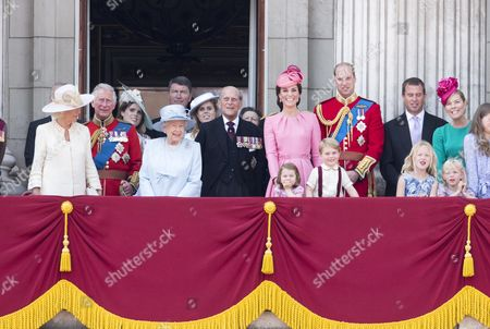 Camilla Duchess of Cornwall, Prince Charles, Queen Elizabeth II, Prince Philip, Catherine Duchess of Cambridge, Prince William, Prince George and Princess Charlotte