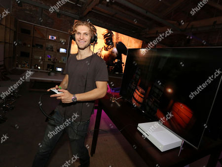 Keegan Allen at the Team Coco + Xbox Gaming Event, in Venice, Calif