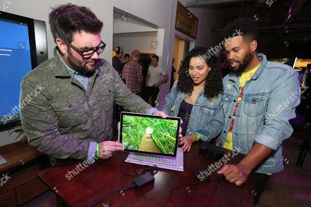 Jurnee Smollett-Bell, Josiah Bell Jurnee Smollett-Bell, center, and Josiah Bell, right, at the Team Coco + Xbox Gaming Event, in Venice, Calif
