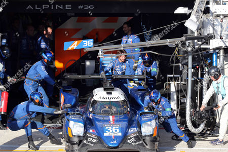 Mechanics work on the Signatech Alpine Matmut in an Alpine A470 - Gibson with Romain Dumas of France, Gustavo Menezes of USA and Matthew Rao of Great Britain  during the Le Mans 24-Hour race in Le Mans, France, 17 June 2017.