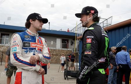 Ryan Blaney, Kurt Busch Ryan Blaney, left, talks with Kurt Busch before a practice session, for the NASCAR Sprint Cup series auto race in Brooklyn, Mich