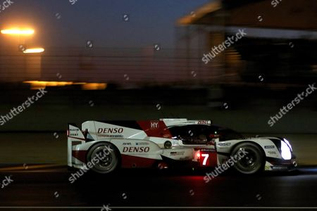 Toyota Gazoo Racing (starting no.7) in a Toyota T050 Hybrid with Stephane Sarrazin of France, Mike Conway of Great Britain and Kamui Kobayashi of Japan at the night during Le Mans 24 Hours race in Le Mans, France, 17 June 2017.