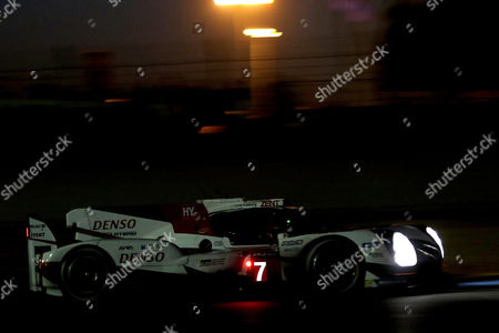Toyota Gazoo Racing (starting no.7) in a Toyota T050 Hybrid with Stephane Sarrazin of France, Mike Conway of Great Britain and Kamui Kobayashi of Japan at night during Le Mans 24 Hours race in Le Mans, France, 17 June 20