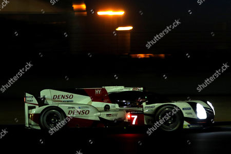 Toyota Gazoo Racing (starting no.7) in a Toyota T050 Hybrid with Stephane Sarrazin of France, Mike Conway of Great Britain and Kamui Kobayashi of Japan at night during Le Mans 24 Hours race in Le Mans, France, 17 June 2017.