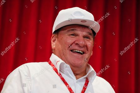 Former Cincinnati Reds player Pete Rose attends a news conference during his statue dedication ceremonies before a baseball game between the Cincinnati Reds and the Los Angeles Dodgers, in Cincinnati