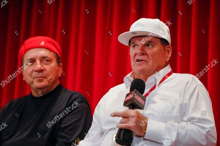 Pete Rose, Johnny Bench Former Cincinnati Reds player Pete Rose, right, speaks alongside teammate Johnny Bench at a news conference during his statue dedication ceremonies before a baseball game between the Cincinnati Reds and the Los Angeles Dodgers, in Cincinnati