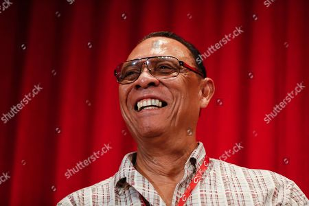 Former Cincinnati Reds player Tony Perez attends a news conference during statue dedication ceremonies for teammate Pete Rose before a baseball game between the Cincinnati Reds and the Los Angeles Dodgers, in Cincinnati