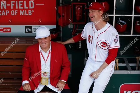 Pete Rose, Bronson Arroyo Former Cincinnati Reds player Pete Rose, left, sits in the dugout with current starting pitcher Bronson Arroyo, right, during Rose's statue dedication ceremonies before a baseball game against the Los Angeles Dodgers, in Cincinnati
