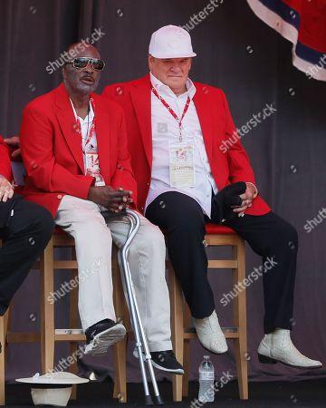 Joe Morgan, Pete Rose Former Cincinnati Reds player Joe Morgan, left, attends a statue dedication ceremony for teammate Pete Rose, right, before a baseball game between the Cincinnati Reds and the Los Angeles Dodgers, in Cincinnati