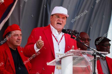 Former Cincinnati Reds player Pete Rose speaks during his statue dedication ceremony before a baseball game between the Cincinnati Reds and the Los Angeles Dodgers, in Cincinnati