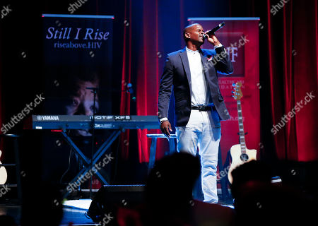Reed For Hope Foundation Ambassador, actor Keith Robinson welcomes guest at the Rise Above Chicago event presented by AIDS Healthcare Foundation at Park West on in Chicago