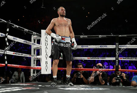 Sergey Kovalev during a light heavyweight championship boxing match against Andre Ward, in Las Vegas