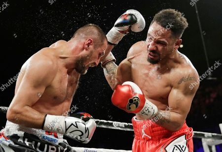 Andre Ward, right, fights Sergey Kovalev during a light heavyweight championship boxing match, in Las Vegas
