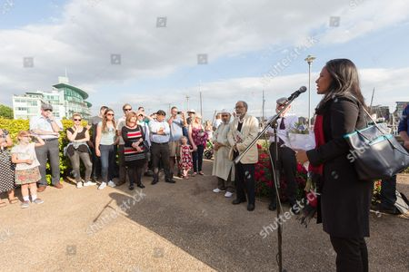 Rushanara Ali, MP for Bethnal Green and Bow speaks at The Great Get Together. Neighbours and friends of Jo Cox attend The Great Get Together near Hermitage Moorings in Wapping to pay tribute and celebrate Jo's call that more unites us than divides us on the anniversary of her death. Jo Cox lived on a house boat in Wapping with her husband Brendan Cox and two children.