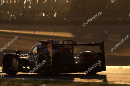 The Panis Barthez Competition team in a Ligier JSP217 - Gibson with Fabien Barthez of France, Timothe Buret of France and Nathanael Berthon of France, racing during the early sunrise hours of the Le Mans 24 Hours motor race in Le Mans, France, 18 June 2017.