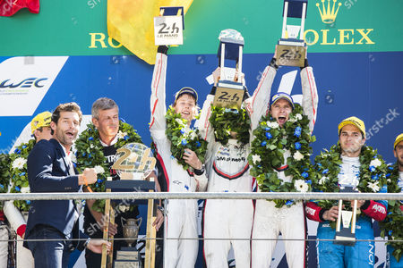 Porsche Team LMP1 drivers Timo BERNHARD DEU, Earl BAMBER NZL, Brendon HARTLEY NZL, celebrate with second place Car 38 JACKIE CHAN DC RACING, ORECA 07 - GIBSON, Ho-Pin TUNG NLD, Thomas LAURENT FRA, Oliver JARVIS GBR and third place Car 13 VAILLANTE REBELLION, ORECA 07 - GIBSON, Nelson PIQUET JR BRA, David Heinemeier HANSSON DNK, Mathias BECHE CHE, after winning the 24 Hours of Le Mans 2017 race at Le Mans, Le Mans
