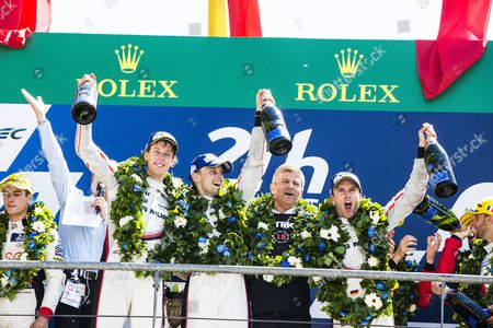 Porsche Team LMP1 drivers Timo BERNHARD DEU, Earl BAMBER NZL, Brendon HARTLEY NZL, celebrate after winning the 24 Hours of Le Mans 2017 race at Le Mans, Le Mans