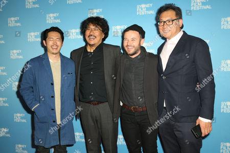 Steven Yeun, Bong Joon-Ho, Daniel Henshall and guest
