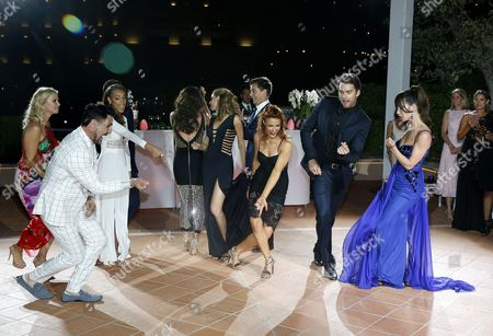 US actors of TV series 'The Bold and The Beautiful' (L-R) Katherine Kelly Lang, Don Diamont, Reign Edwards, Heather Tom, Kelly Kruger, Darin Brooks, Courtney Hope, Pierson Fode and Jacqueline MacInnes Wood dance during the party of the 30th Years Anniversary of 'The Bold and The Beautiful' during the 57th Monte Carlo Television Festival in Monaco, 18 June 2017.