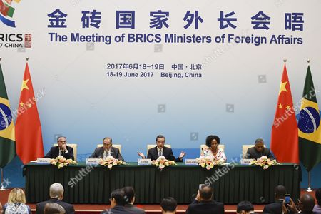 Brazil's Foreign Minister Aloysio Nunes (L), Russia's Foreign Minister Sergey Lavrov (2-L), South Africa's Foreign Minister Maite Nkoana-Mashabane (2-R), Indian Minister of External Affairs Vijay Kumar Singh (R) and China's Foreign Minister Wang Yi (C) attend a press conference during the BRICS (Brazil, Russia, India, China and South Africa) Foreign Ministers meeting in Beijing, China, 19 June 2017. The meeting is being held in advance of the 9th annual BRICS Summit in Xiamen, in September 2017.