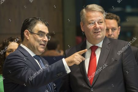 Cyprus Minister of Agriculture, Rural Development and Environment, Nicos Kouyialis (L) and  Austria's Federal Minister of Agriculture, Forestry, Environment and Water Management, Andra Rupprechter during the European council of environment ministers in Luxembourg, 19 June 2017.