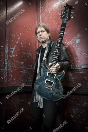 Stock Picture of London United Kingdom - February 23: Portrait Of Welsh Musician Peredur Ap Gwynedd Guitarist With Rock Group Pendulum Photographed Before A Live Performance At Music Bank In London On February 23