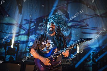 London United Kingdom - June 3: Guitarist Stephen Carpenter Of American Hard Rock Group Deftones Performing Live On Stage At Wembley Arena In London On June 3