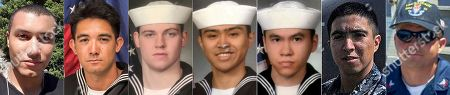 Stock Image of This combination of undated photos released, by the U.S. Navy shows the seven U.S. sailors who died in a collision between the USS Fitzgerald and a container ship off Japan on Saturday, June 17, 2017. From left to right, Personnel Specialist 1st Class Xavier Alec Martin, 24, from Halethorpe, Maryland, Yeoman 3rd Class Shingo Alexander Douglass, 25, from San Diego, California, Gunner's Mate Seaman Dakota Kyle Rigsby, 19, from Palmyra, Virginia, Fire Controlman 2nd Class Carlos Victor Ganzon Sibayan, 23, from Chula Vista, California, Sonar Technician 3rd Class Ngoc T Truong Huynh, 25, from Oakville, Connecticut, Gunner's Mate 2nd Class Noe Hernandez, 26, from Weslaco, Texas, and Fire Controlman 1st Class Gary Leo Rehm Jr., 37, from Elyria, Ohio