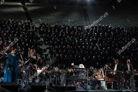 Editorial image of Greek music legend Mikis Theodorakis directs finale at concert, Athens, Greece - 19 Jun 2017