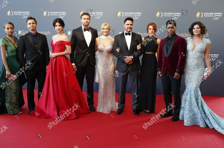 US actors of the TV series 'The Bold and The Beautiful' (L-R) Reign Edwards, Darin Brooks, Jacqueline MacInnes Wood, Pierson Fode, Katherine Kelly Lang, Don Diamont, Courtney Hope, Rome Flynn and Heather Tom pose on the red carpet while arriving for the closing ceremony of the 57th Monte Carlo Television Festival in Monaco, 20 June 2017. The event runs from 16 to 20 June.