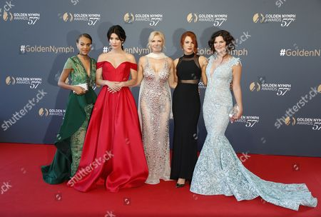 US actresses of the TV series 'The Bold and The Beautiful' (L-R) Reign Edwards, Jacqueline MacInnes Wood, Katherine Kelly Lang, Courtney Hope and Heather Tom pose on the red carpet while arriving for the closing ceremony of the 57th Monte Carlo Television Festival in Monaco, 20 June 2017. The event runs from 16 to 20 June.