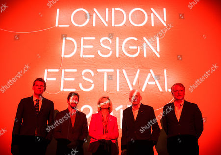 From left to right: Dr Christopher Turner, Director Design Frontiers; Joff Sharpe, Head of Operations British Land; Victoria Broakes, Head of London Design Festival at the V&A; Sir John Sorrell CBE, Chairman of London Design Festival; Ben Evans, Director of London Design Festival, at London Design Festival 2017 press conference, at The V&A.