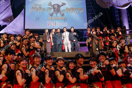 Stock Picture of Chiaki Kuriyama, Kaya Scodelario, Johnny Depp, Brenton Thwaites and Taishi Nakagawa