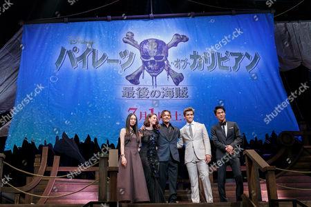 Chiaki Kuriyama, Kaya Scodelario, Johnny Depp, Brenton Thwaites and Taishi Nakagawa