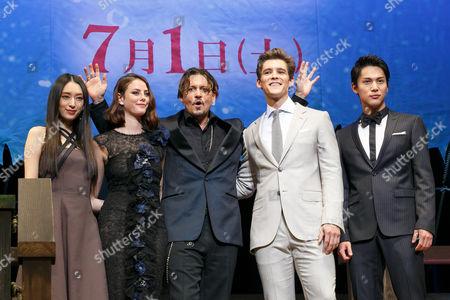 Stock Image of Chiaki Kuriyama, Kaya Scodelario, Johnny Depp, Brenton Thwaites and Taishi Nakagawa