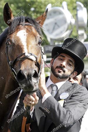 , Royal Ascot, GB, Barney Roy with Sheikh Crown Prince Sheikh Hamdan bin Mohammed bin Rashid Al Maktoum after winning the St James's Palace Stakes.