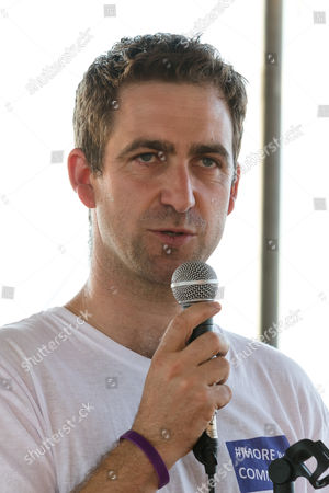 Brendan Cox, husband of murdered MP, Jo Cox speaks and pays tribute to Jo Cox at The Great Get Together at Tower Bridge Moorings in London