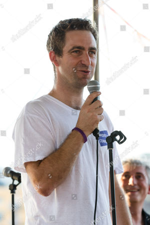 Stock Image of Brendan Cox, husband of murdered MP, Jo Cox speaks and pays tribute to Jo Cox at The Great Get Together at Tower Bridge Moorings in London