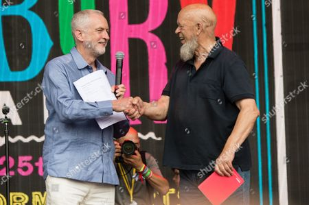 Labour party leader Jeremy Corbyn with Michael Eavis on the Pyramid stage, where Jeremy Corbyn gave a rousing speech before hip hop act Run the Jewels performed